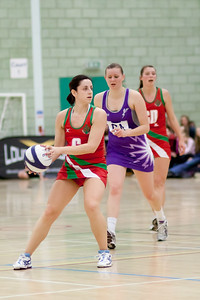 Action at the Cooperative Netball Superleage match between Loughborough Lightning and Celtic Dragons played at Walsall Campus on 6th February 2010