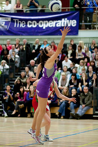 Lianne Badmin goes for the ball during the Cooperative Netball Superleage match between Loughborough Lightning and Celtic Dragons played at Walsall Campus on 6th February 2010