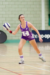 Katy Rose making the pass during the Cooperative Netball Superleage match between Loughborough Lightning and Celtic Dragons played at Walsall Campus on 6th February 2010