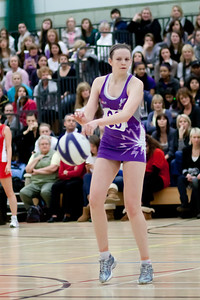 Jo Harten in action during the Cooperative Netball Superleage match between Loughborough Lightning and Celtic Dragons played at Walsall Campus on 6th February 2010