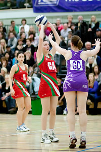 Alex Kirk defends the Celit Dragons shot during the Cooperative Netball Superleage match between Loughborough Lightning and Celtic Dragons played at Walsall Campus on 6th February 2010