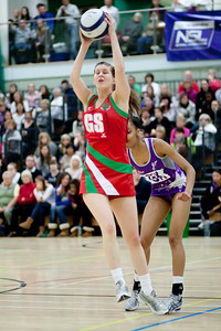 Catherine Roberts in action during the Cooperative Netball Superleage match between Loughborough Lightning and Celtic Dragons played at Walsall Campus on 6th February 2010
