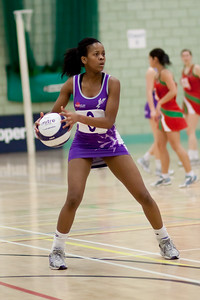 Masego Motaung in action during the Cooperative Netball Superleage match between Loughborough Lightning and Celtic Dragons played at Walsall Campus on 6th February 2010
