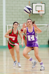 Katy Rose going for the ball during the Cooperative Netball Superleage match between Loughborough Lightning and Celtic Dragons played at Walsall Campus on 6th February 2010