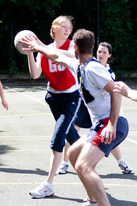 Action from Oxfordshire Mixed Netball Tournament as they took to the multi purpose tennis courts of John Mason School in Abingdon, Oxfordshire on 1st July 2007.