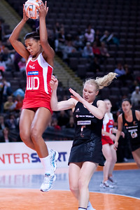 Stacey Francis of the England Netball Team in action against the New Zealand Silver Ferns in game four of the World Netball Series from the MEN arena in Manchester, England, October 2009