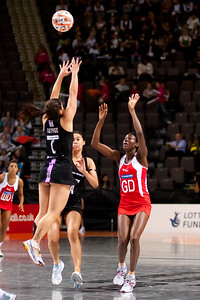 Temepara George of the New Zealand Silver Ferns in action against England Netball in game four of the World Netball Series from the MEN arena in Manchester, England, October 2009