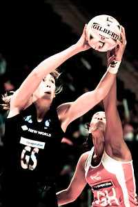 Irene Van Dyk of the New Zealand Silver Ferns in action against England Netball in game four of the World Netball Series from the MEN arena in Manchester, England, October 2009