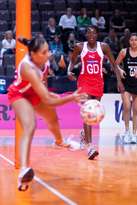 Geva Mentor of the England Netball Team in action against the New Zealand Silver Ferns in game four of the World Netball Series from the MEN arena in Manchester, England, October 2009