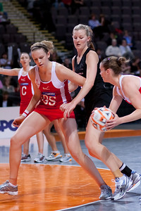 Jo Harten of the England Netball Team in action against the New Zealand Silver Ferns in game four of the World Netball Series from the MEN arena in Manchester, England, October 2009