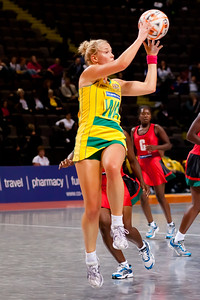 Kimberlee Green of the Australian Diamonds in action from game Six of the World Netball Series, Twenty20 style netball between Malawi v Australian Diamonds Netball team, from the MEN arena in Manchester, England, October 2009