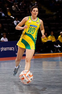 Action from game Six of the World Netball Series, Twenty20 style netball between Malawi v Australian Diamonds Netball team, from the MEN arena in Manchester, England, October 2009