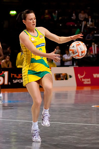Natalie von Bertouch of the Australian Netball Diamonds in action from game Six of the World Netball Series, Twenty20 style netball between Malawi v Australian Diamonds Netball team, from the MEN arena in Manchester, England, October 2009