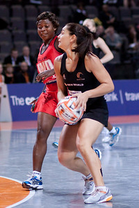 Action from game three of the World Netball Series, Twenty20 style netball between the New Zealand Silver Ferns Netball team v Malawi, from the MEN arena in Manchester, England, October 2009