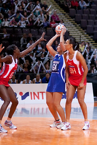 Geva Mentor of England Netball goes in action during game one of the World Netball Series, England Netball v Samoa. October 2009 at the MEN arena in Manchester, England.