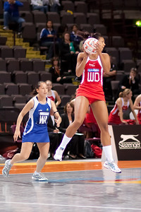 Stacey Francis in action during game one of the World Netball Series, England Netball v Samoa. October 2009 at the MEN arena in Manchester, England.
