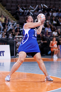Monica Fuimaono of the Samoa Netball team in action during game one of the World Netball Series, England Netball v Samoa. October 2009 at the MEN arena in Manchester, England.