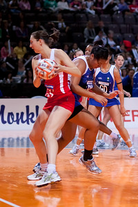 Rachel Dunn of England Netball in action during game one of the World Netball Series, England Netball v Samoa. October 2009 at the MEN arena in Manchester, England.