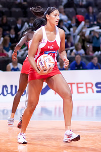 Geva Mentor of England Netball in action during game one of the World Netball Series, England Netball v Samoa. October 2009 at the MEN arena in Manchester, England.
