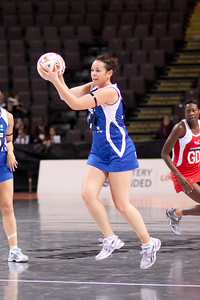 Brooke Williams of the Samoa Netball team in action during game one of the World Netball Series, England Netball v Samoa. October 2009 at the MEN arena in Manchester, England.