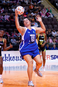 Monica Fuimaono of the Samoa Netball team in action during game five of the World Netball Series, Samoa v Jamaicas Sunshine Girls. October 2009 at the MEN arena in Manchester, England