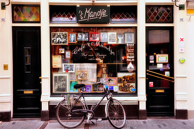 Bicycle in front of shop, Amsterdam