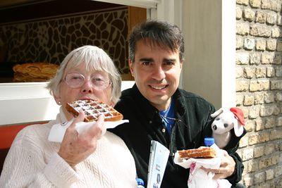 Aunt enjoys a Belgium waffle.
