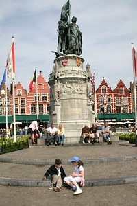 Statue of  Pieter de Coninck and Jan Breidel , two 14th century guildsmen who led a rebellion against the French in 1302.