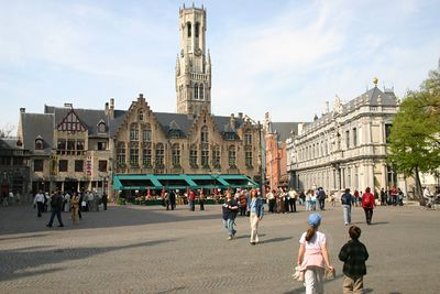 The Markt - Main square in Bruges - The Belfort (Belfry tower) - 13th Century