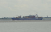 Scheldt scene, Hoedekenskerke, Mon 9 September 2013 2.  A container ship heads east towards Antwerp.