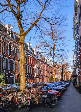 Street in the city of Amsterdam, Netherlands.