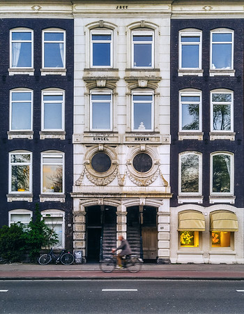Facade of building in the city of Amsterdam, Netherlands.