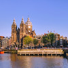 Downtown Amsterdam and the Basilica of St. Nicholas.