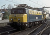NS 1148 is being removed from the Den Haag to Koln train at the border station of Venlo by 'Sik' 350 on 22 October 1988 as the wires at this end of the station are electrified to the German voltage