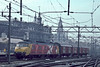 NS Postal unit 3030, pulling a small string of parcels vans, enters Amsterdam Central on 3 November 1993