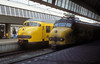 NS Plan V6 electric multiple unit 479 sits in the platform at Rotterdam CS alongside older 'dog head' Plan F unit 712 which was forming the 1440 service to Leuwaarden on 22 October 1988