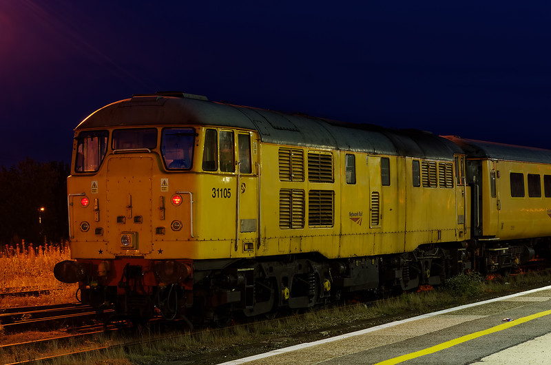 31105, stabled with a test train on Didcot Loco Holding Sidings on 23rd August 2012.