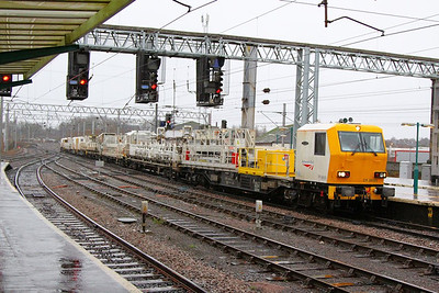 DR98003 heads north through Carlisle on the: 6Y53 09:40 Crewe TMD to Mossend  06/12/12