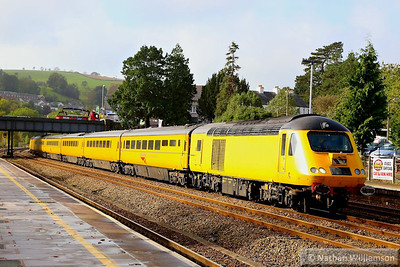 43014 heads north through Totnes on the: 1Q19 10:01 Plymouth to Paddington  25/10/13
