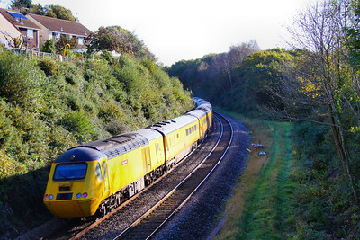 43062 heads north through South Brent on the: 1Q19 10:01 Plymouth to Paddington. The line to Kingsbridge used to diverge to the right 28/10/11