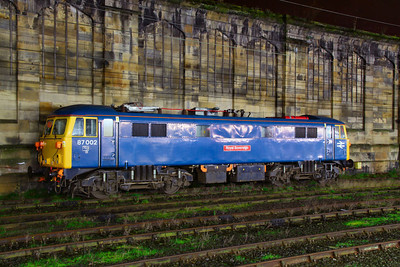 87002 stables in Carlisle 21/11/11  The loco was hired by Network Rail for overhead wire ice breaking duties