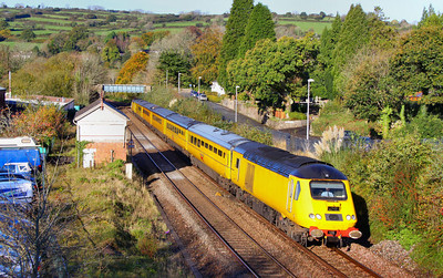 43014 heads north through the closed Station of South Brent on the: 1Q19 10:01 Plymouth to Paddington 28/10/11