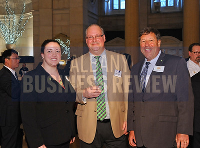 4-2-2015, center, ABR's Rob Tallman joins Jessica Gleason and Jeff Stone from Kinderhook Bank at ABR's Hoppy Hour.