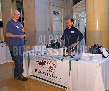 4-2-2015,  Erik Vaaler of Free Form Fibers & Max Oswald, general manager at Olde Saratoga Brewing Co. at ABR's Hoppy Hour.