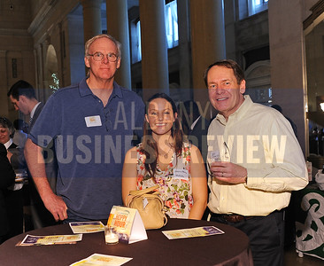 4-2-2015,  center, Jessica Morris of MetLife with Erik Vaaler & John Schneiter of Free Form Fibers at ABR's Hoppy Hour.
