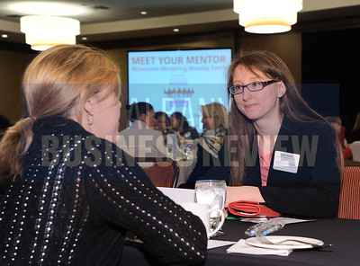 3-30-2015, Bizwomen, Mentoring Monday. left, mentor Theresa Marangas, attorney, Law Office of Theresa B. Marangas  with Nicole Smith, Deily & Glastetter, LLP.
