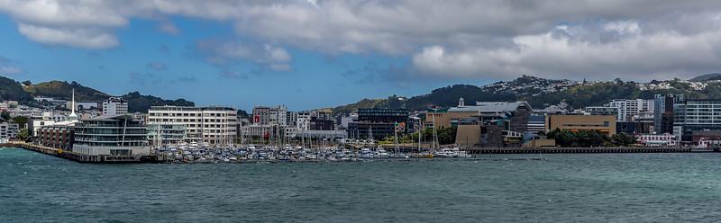 Ein letzter Blick zurück auf Wellington: links der Bootshafen, rechts das Te Papa Museum