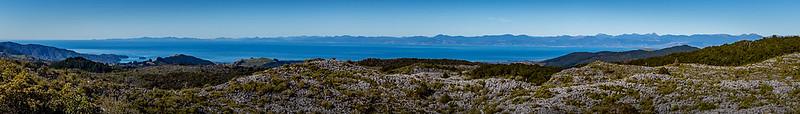 Blick vom «Takaka Hill Walkway» Richtung «Tasman Bay»