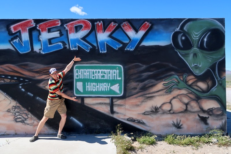 Stopping at ET Fresh Jerky for beef jerky on the Extraterrestrial Highway
