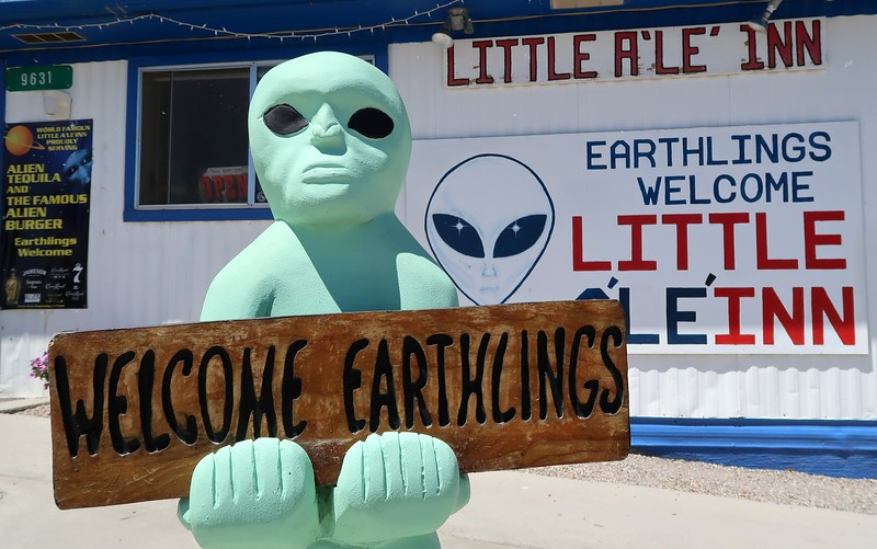 Welcome earthlings sign at Little A'le'inn, Nevada